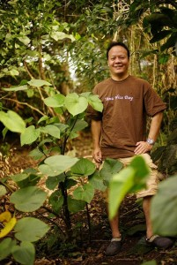 Jonathan Yee on the Kahaluu Country Store farm, south side, Oahu, Hawaii.
